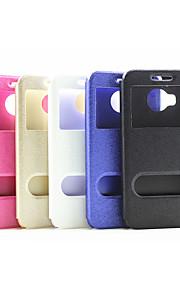2015 el más nuevo soporte ventana grano de seda del tirón sencilla pc pu cáscara del teléfono móvil para la m9 htc más colores surtidos