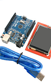 Improved Version UNO R3 ATMEGA328P Board Module + 2.4 Inch TFT LCD Touch Shield Display Module for Arduino