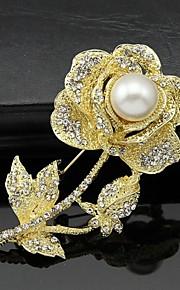 Dame Brocher Blomster Mode Personaliseret Euro-Amerikansk Rhinsten Legering Dyreformet Smykker ForBryllup Fest Speciel Lejlighed Daglig