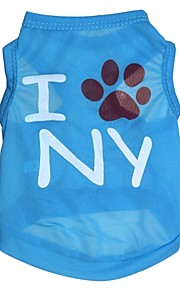 Gatos / Perros Camiseta Azul Verano Flores / Botánica Moda, Dog Clothes / Dog Clothing-Other