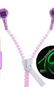 lyser i mörkret dragkedja hörlurar earbuds hörlurar headset med universell 3,5 mm stereokontakt&mikrofon för mobiltelefoner