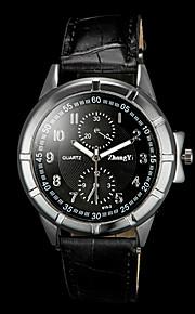 mænds afslappet pu rem quartz armbåndsur
