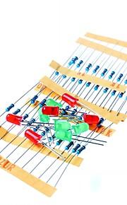 50pcs 1K 10K 100K 220 Ohm 1/4W Metal Film Resistor and Led KIT for Raspberry Pi / Arduino
