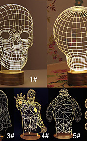 3d kranium tegneserie model kreative atmosfære usb humør førte dekoration bordlampe varm hvid natlys