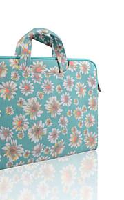 loelmall ® tragen Laptop-Hülle Canvas-Gewebe von 13 bis 13,3 Zoll (Aktenkoffer grüne Chrysantheme)