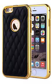 hzbyc® nye lammeskinn luksus skinn linjer ekte lær metall tpu integrert ramme sak for Apple iPhone 6 / 6s