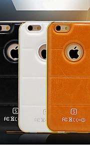 hzbyc® nye luksus skinn linjer ekte skinn iphone 6 4.7 metall tpu integrert ramme veske til Apple iPhone 6 / 6s