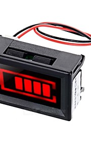 Red Light Electric Quantity Displayer w/ Strobe Alarm for 12V Lead-acid Storage Battery