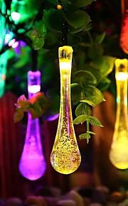konge ro solar 19.68ft 30led waterdrop julebord dekorasjon lys utendørs vanntett string lys
