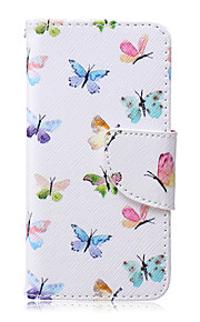 Small Colored Butterfly Pattern PU  Material Card Bracket  Case for iPod Touch 5  /6