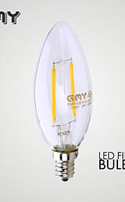 1 st gmy e12 2W ledde glödlampor cob ≥200 lm varmvitt CB10 klar dekorativa ljus lökar ac 110-130v 2700K