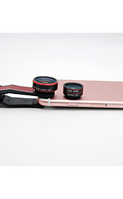2016 hot selling phone clip 3-IN-ONE camera lens kit clip 198 degree super fisheye lens 0.63x wide angle 15x macro lens