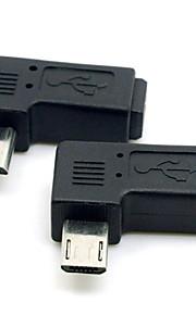 cy® rechts draaien 90 graden vrouwelijke mini USB naar mannelijke Micro USB voor telefoons / tablets