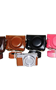 dengpin pu læder kamerataske taske dække med skulderrem til Canon PowerShot G9 x (assorterede farver)