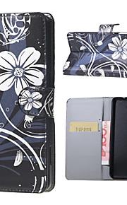 flores blancas y el modelo de mariposa tirón del cuero del soporte de la carpeta caso con la ranura para tarjeta para el lumia 650