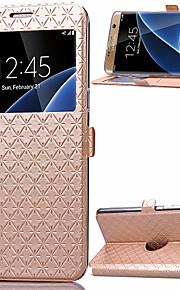 Per Samsung Galaxy S7 Edge Porta-carte di credito / Con supporto / Con sportello visore / Con chiusura magnetica Custodia Integrale