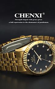 Heren Dress horloge Japanse quartz Vrijetijdshorloge Roestvrij staal Band Polshorloge Goud
