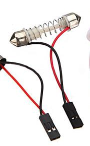 10 stk 3528 SMD LED panel 48 varmt hvitt LED lys + t10 / BA9S modul + dobbel spiss (st 12v)