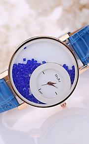 pulseira de couro assistir contas brancas caso analógico de pulso de quartzo das mulheres