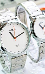 Casal Relógio de Moda Quartz Lega Banda Relógio de Pulso Prata
