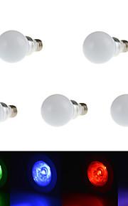 5 stk. HRY E26/E27 3W 1 Høyeffekts-LED 240LM lm RGB Tube Fjernstyrt / Dekorativ LED-scenelys AC 85-265 V