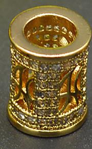 DIY beaded armbånd halskæde lys rosa guld plating fittings zircon arkitektoniske stil hule makroporøse perle hac0043
