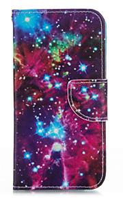 サムスンS5用スタンドケース付き流星スカイPUレザー