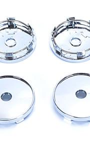 4 Pcs Silver Tone Plastic 60mm Dia Car Hood Emblem Wheel Center Hub Caps Covers
