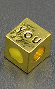 DIY beaded armbånd halskæde tilbehør vakuum plating 18 karat guld firkantet tekst hjerte lampwork perler hac0042 lim