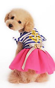Собаки Платья Розовый / Желтый Лето / Весна/осень Классика / Полоски Мода / Полоски-Lovoyager