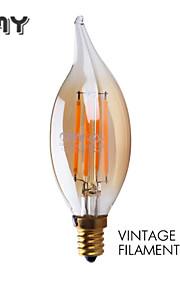 3W E12 LED-lysestakepærer B 4 COB ≥300 lm Varm hvit Dimbar / Dekorativ AC 110-130 V 1 stk.