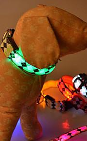 Hundar Halsband LED Lampor Röd / Vit / Grön / Blå / Rosa / Gul / Purpur / Orange / Regnbåge Nylon