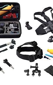 Gopro Accessories 17 in 1 Set Helmet Harness Chest Belt  Bike Mount Strap Monopod Case for hero 4 3+