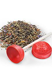 søt te lollipop te infuser løs te blad sil urte krydder silikon filter diffuser (tilfeldig farge)