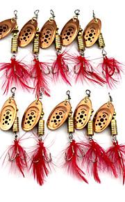 Hengjia 10pcs Spoon Metal Fishing Lures 65mm 5.3g Spinner Baits Random Colors