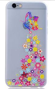 TPU lyser i mörkret genomskinligt fjäril lättnad mjukt skydd ringer fallet för iphone 6 / 6s / 6 plus / 6s plus