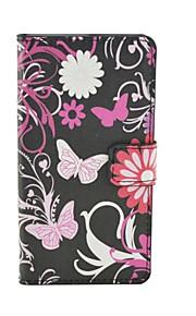 노키아 루미아 950 XL에 대한 자석 스냅 및 카드 슬롯과 꽃 패턴 PU 가죽 플립 케이스