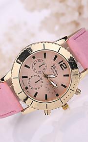 pulseira de couro branco caso de quartzo analógico relógio de pulso das mulheres