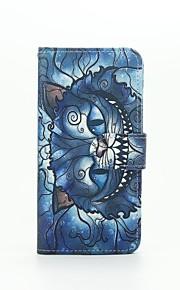 blå kat mønster pu læderetui med kort slot og står for Samsung Galaxy A310 / A510