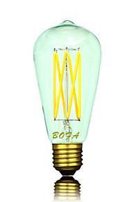1 stk. NO B22 / E26 / E26/E27 6W 6 COB 300-550 lm Varm hvit ST64 Dimbar / Dekorativ LED-globepærer AC 220-240 / AC 110-130 V