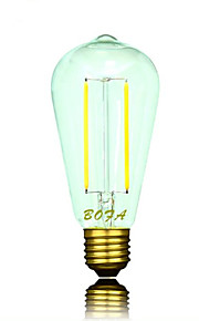 1 stk. NO E26 / E26/E27 2W 2 COB 100-200 lm Varm hvit ST64 Dimbar / Dekorativ LED-globepærer AC 220-240 / AC 110-130 V