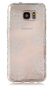 Transparent Peony Pattern Slip TPU Phone Case For Samsung Galaxy S7/S7 edge