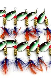 Hengjia 10pcs Deluxe Quality Spoon Metal Fishing Lures 63mm 5.7g Spinner Baits Random Colors