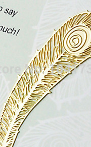 2PCS Cute Hollow Mini Golden Feather Design Iron Bookmark / Peacock Plume Book Marks / Metal Bookmark(Style random)