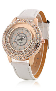 Ladies' Wrist Watch Korean Fashion Boutique Ball Diamond Rose Gold Case With a Quartz Watch PU(Assorted Colors)