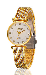 Lady's Stainless Steel Gold Chain Band Analog Bracelet Wrist Watch Jewelry
