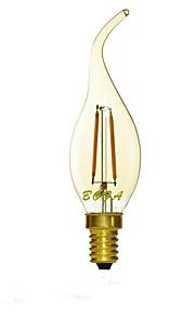 1 stk. NO E14 2W 2 COB 100-200 lm Varm hvit C35 Dimbar / Dekorativ LED-lysestakepærer AC 220-240 V
