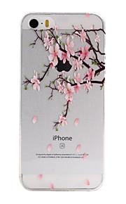TPU material de flor de pêssego padrão caixa do telefone fino para iphone SE / 5s / 5