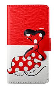 mooie strik cartoon pu lederen flip telefoon geval dekking voor LG G3 / G4 / G3 mini / L90 met de portefeuille-kaartsleuf&stand