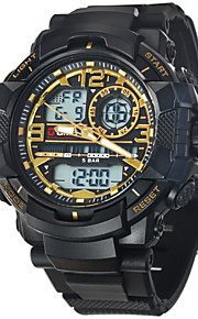 Herre Sportsur Digital LCD / Kalender / alarm / Selvlysende / Stopur Gummi Band Armbåndsur Sort